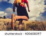 hiking man or trail runner... | Shutterstock . vector #400608397