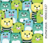 Stock vector cute cats colorful seamless pattern background 400611127