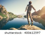 traveler man levitation jumping ... | Shutterstock . vector #400612597