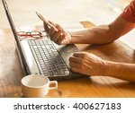 side view shot of a man hands... | Shutterstock . vector #400627183