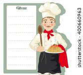 chef with menu signboard and... | Shutterstock .eps vector #400660963