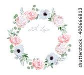 beautiful delicate peony ... | Shutterstock .eps vector #400666813