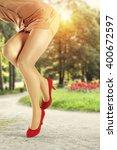 summer sun light in green park... | Shutterstock . vector #400672597