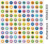 100 flat icons collection  ... | Shutterstock .eps vector #400681303