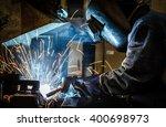 industrial steel worker speeds... | Shutterstock . vector #400698973