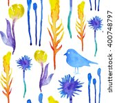 boho watercolor nature pattern  ... | Shutterstock . vector #400748797