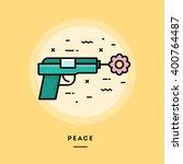 Gun Shooting Flower  Flat...