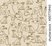 hand drawn seamless monkey... | Shutterstock .eps vector #400773943