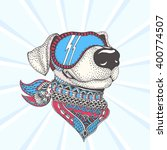 dog with color ethnic floral... | Shutterstock .eps vector #400774507