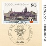 Small photo of ST. PETERSBURG, RUSSIA - APR 4, 2016: A first day of issue postmark printed in Germany, shows Bonn Bimillennium, circa 1989