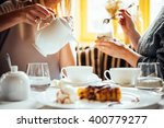 cafe or bar table with desserts ... | Shutterstock . vector #400779277