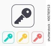 door key vector color icon set