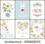 a set of cute greeting cards... | Shutterstock .eps vector #400808053