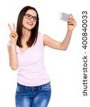 the cute selfie. cropped studio ... | Shutterstock . vector #400840033