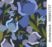 seamless pattern with iris... | Shutterstock .eps vector #400851727