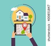 hand holding smartphones with... | Shutterstock .eps vector #400851847