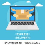 concept of the fast delivery... | Shutterstock .eps vector #400866217