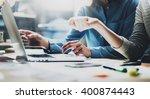 account team meeting. photo... | Shutterstock . vector #400874443