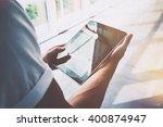 digital world.closeup photo man ... | Shutterstock . vector #400874947
