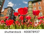 close up of red tulips with... | Shutterstock . vector #400878937