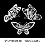 set of black and white lace... | Shutterstock .eps vector #400882357