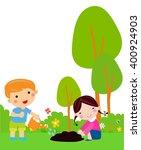 little kids planting small... | Shutterstock .eps vector #400924903