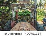 tractor with green banana | Shutterstock . vector #400961197