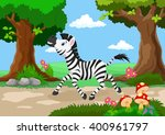 funny zebra with a background... | Shutterstock .eps vector #400961797