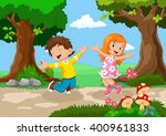 boys and girls jumping for joy... | Shutterstock .eps vector #400961833