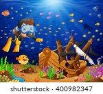 Illustration Of Diver Under Th...