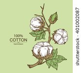 background with cotton. hand... | Shutterstock .eps vector #401002087