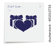 set of gifts and heart icon....