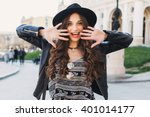 outdoor fashion portrait of... | Shutterstock . vector #401014177