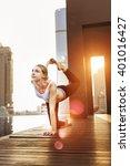 woman yoga practice pose... | Shutterstock . vector #401016427