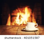 white cup of tea with teabag on ... | Shutterstock . vector #401051587
