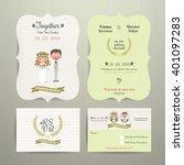 bride   groom cartoon romantic... | Shutterstock .eps vector #401097283