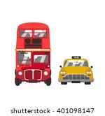 red bus and yellow taxi | Shutterstock .eps vector #401098147