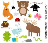 forest animal insect set. bear... | Shutterstock . vector #401136997