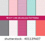 Vector wavy line seamless patterns romantic vintage collection | Shutterstock vector #401139607