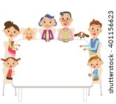 the three generation family who ... | Shutterstock .eps vector #401156623