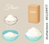flour sifter  package of  bowl... | Shutterstock .eps vector #401159977