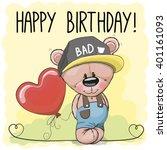 cute cartoon teddy bear with a... | Shutterstock .eps vector #401161093