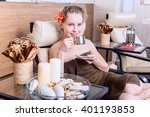 beautiful woman in spa salon... | Shutterstock . vector #401193853