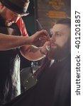 young bearded man getting beard ... | Shutterstock . vector #401201857