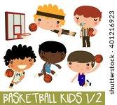 basketball kids. cute vector...   Shutterstock .eps vector #401216923