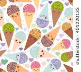 ice cream waffle cone seamless... | Shutterstock .eps vector #401220133