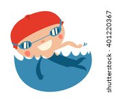 swimming kid character. cute... | Shutterstock .eps vector #401220367