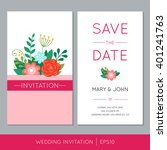 colorful wedding invitation... | Shutterstock .eps vector #401241763