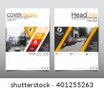 Yellow annual report brochure flyer design template vector, Leaflet cover presentation abstract flat background, layout in A4 size | Shutterstock vector #401255263