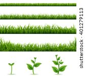 grass borders big set with... | Shutterstock .eps vector #401279113